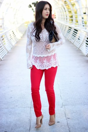 off white Local store top - ruby red Local store jeans - nude Forever21 pumps