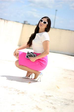 hot pink Hommage skirt - black Lulus bag - heather gray Shoedazzle pumps