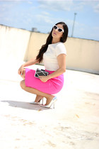 hot pink Hommage skirt - black Lulus bag - heather gray Shoedazzle pumps
