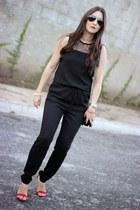 black PERSUNMALL bag - black ray-ban sunglasses - red Lulus heels