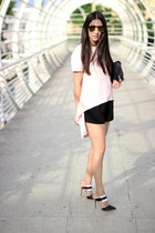 black Forever 21 shorts - light pink Local store top - black Shoedazzle pumps