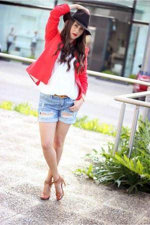 red Zara blazer - black Forever 21 hat - sky blue Local store shorts