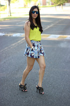 blue asos skirt - blue Ebay sunglasses - black Shoedazzle sandals