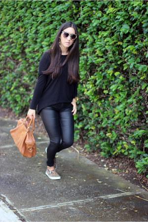 black Lulus sweater - burnt orange Sole Society bag - black Dicons pants