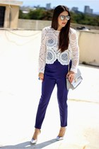 white Local store top - navy Hommage jumper - silver Shoedazzle pumps