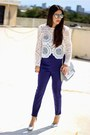 White-local-store-top-navy-hommage-jumper-silver-shoedazzle-pumps