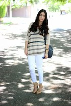 silver Forever 21 sweater - beige Forever21 pumps - white Zara pants