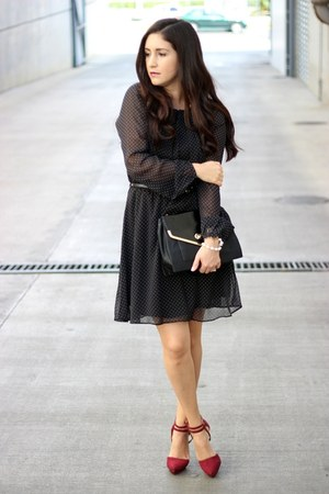 black Mango dress - black Olivia  Joy bag - beige Zara sunglasses