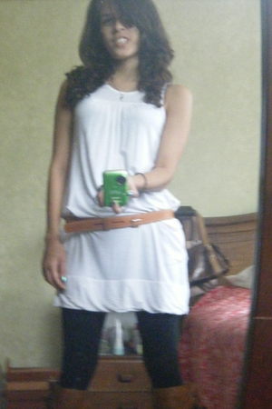 white dress - brown Kenneth Cole belt - black tights - brown Forever 21 boots