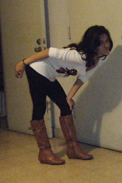 brown Forever 21 boots - black leggings - white normakamali top