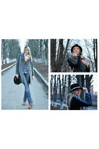 tawny boots - heather gray coat - black hat - tawny bag