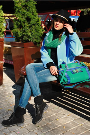 light blue zazulka coat - turquoise blue Mango jeans - teal Centro bag