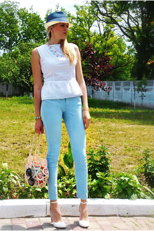 beige DIY bag - sky blue Bershka jeans - navy Centro hat - white DIY top