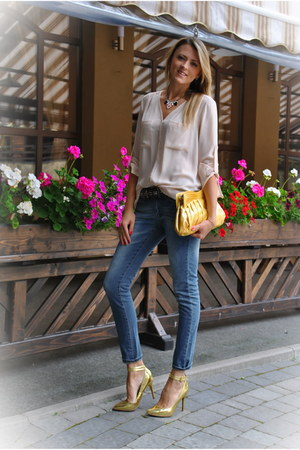 light pink H&M blouse - navy Mango jeans - gold Mango heels