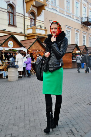 black boots - black jacket - red old scarf - green DIY skirt