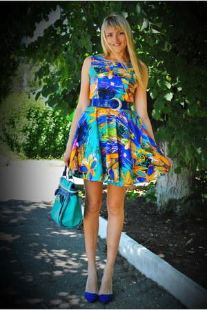 navy DIY dress - teal Centro bag - navy Stradivarius heels