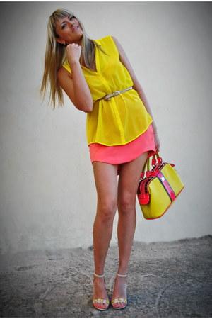 salmon zazulka DIY skirt - yellow velina fabbiano bag - nude unknown heels