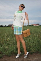 aquamarine plaid skirt DIY skirt - silver new look boots