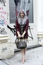 crimson leather lappel BB Dakota blazer - charcoal gray All Saints shirt