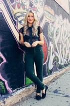 green zippers Topshop pants - dark brown backpack Louis Vuitton bag
