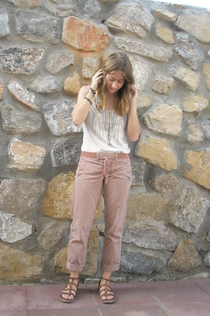 ivory beaded slouchy Urban Outfitters top - brown sandals