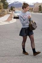 black leather H&M dress - silver varsity Vans sweater