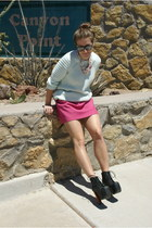 aquamarine H&M jumper - black Jeffrey Campbell boots - hot pink Zara skirt