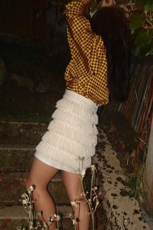 white diy skirt - yellow hounds tooth shirt