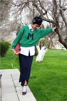 black Mango shoes - green Mango sweater - white Topman shirt - navy green silk v