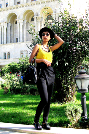 yellow Mango top - black Mango pants - black Mango purse - black Miss Sixty - bl