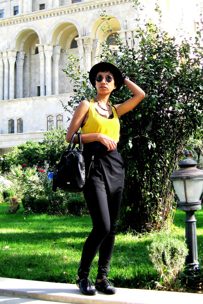 yellow Mango top - black Mango pants - black Mango purse - black Miss Sixty - bl