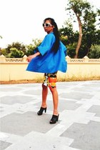 burnt orange Prada sunglasses - black Mango shoes - blue kimono vintage jacket