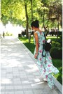 Aquamarine-floral-asos-dress-black-caviar-backpack-chanel-bag