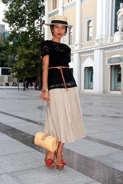 boater hat - brown flower wedges Mango shoes - black Mango - tan skirt Mango