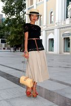 boater hat - brown flower wedges Mango shoes - black Mango - tan skirt Mango