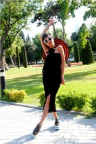 blue Prada shoes - black DIY dress - carrot orange striped Prada hat