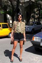 black Ray Ban sunglasses - black vintage ebay - brown satchel bag Zara - Mango