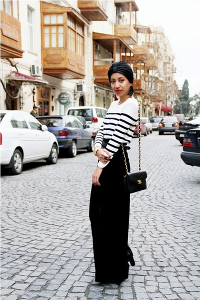 black Chanel bag - white striped Topshop sweater - black velvet maxi DIY skirt