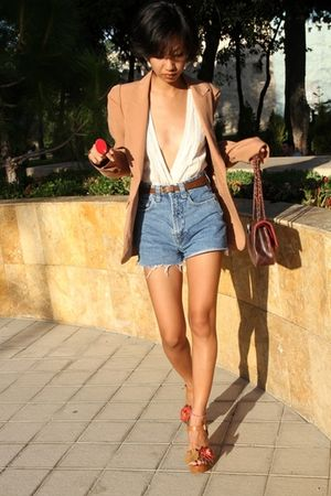 brown flower wedges Mango shoes - white MangoDIY top - red ring f21