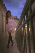 light pink christian dior dress - black sky high Dolce & Gabbana boots