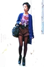 Blue-zara-brown-nafnaf-shirt-brown-donna-karan-shorts-gold-accessorize-nec