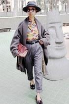 red classic flap Chanel bag - heather gray oversized Kenzo coat