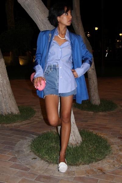 blue Mango shirt - blue Versus by Versace Vintage shorts - blue Stella McCartney
