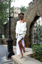 gold Local Gold Souq necklace - white diy dress - white cable Zara sweater