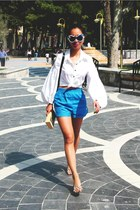 blue high waisted custom made shorts - white custom made shirt
