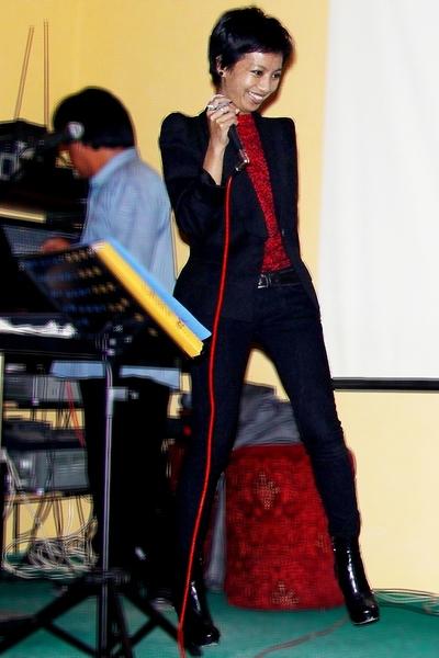 red Balmain shirt - black Guess boots - black power shoulder Zara jacket