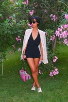 H&M shoes - black Sonia Rykiel - black romper DIY - beige Stella McCartney