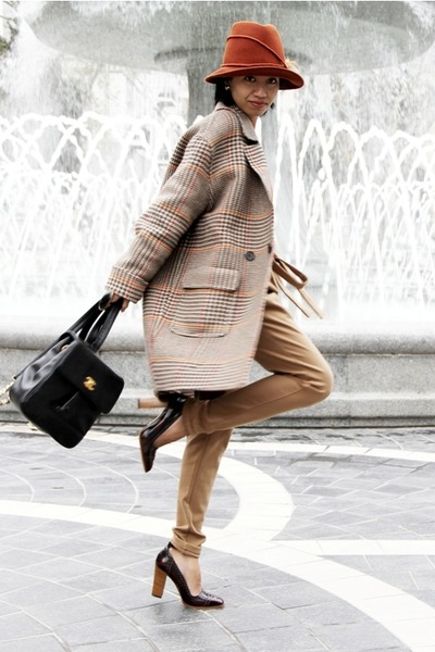 black heeled oxford Mango shoes - tan Tommy Hilfiger coat