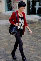 black studded Zara purse - black zoe sam edelman boots - black Mango jeans