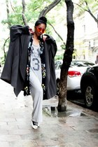 black Converse shoes - heather gray Topshop dress - heather gray Kenzo coat